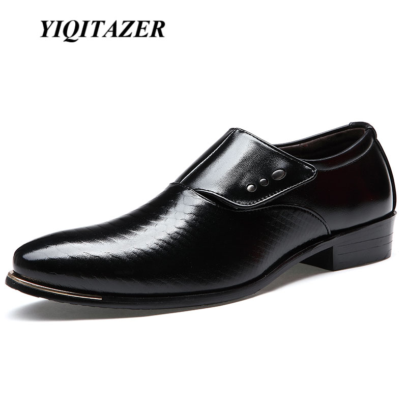 YIQITAZER 2018 nove modne muške cipele za vjenčanice, crne cipele okrugli točak poslovna britanska muške cipele Slipon Geniune