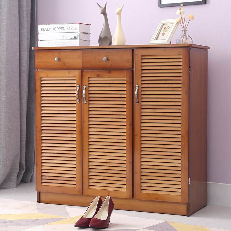 Modern Multi-layer Shoe Cabinet With 3 Doors & 2 Drawers Bamboo Furniture Entrance Multi-function Shoe Rack Storage Organizer