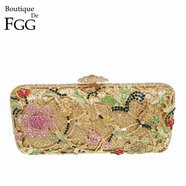 676edf36eb Gift Box Packed Golden Plated Women Floral Rose Crystal Evening Clutches  Bags Ladies Party Handbags Purses Wedding Clutch Bag-in Evening Bags from  ...