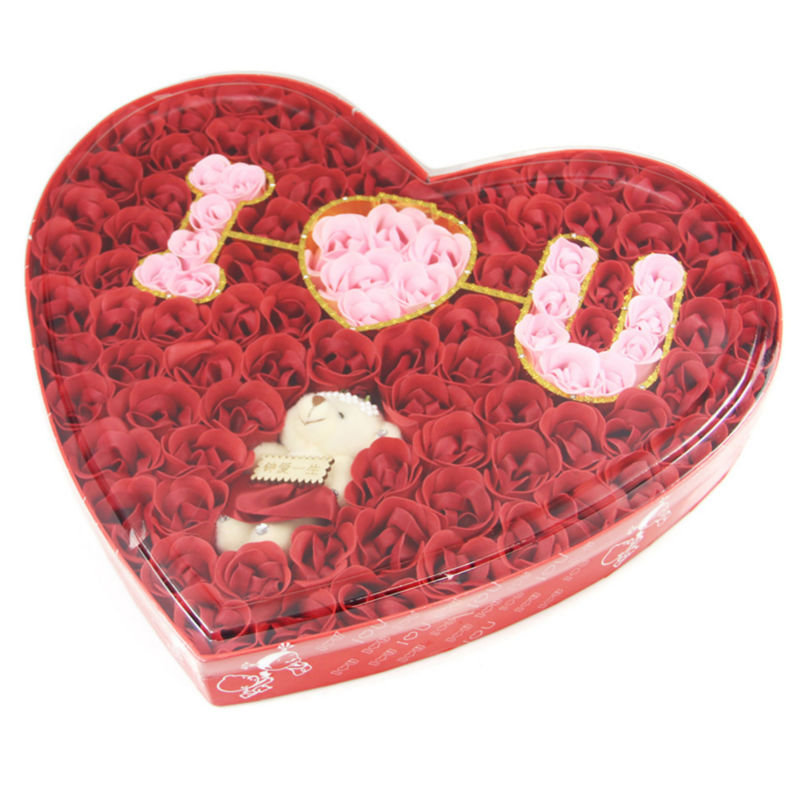 Kiss Rose Soap Flower Wedding Gift Valentines Day Girlfriend Romantic Birthday Box Bear I Love U Free Shipping In Party Favors From Home