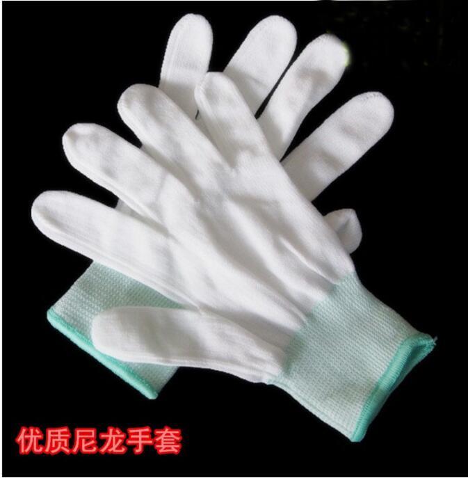 1 Paar 13-pin Nylon Weißen Handschuh Core Staub-freies Polyester Elektronik Fabrik Arbeit Arbeit Versicherung Männer Und Frauen Handschuhe Wohltuend FüR Das Sperma