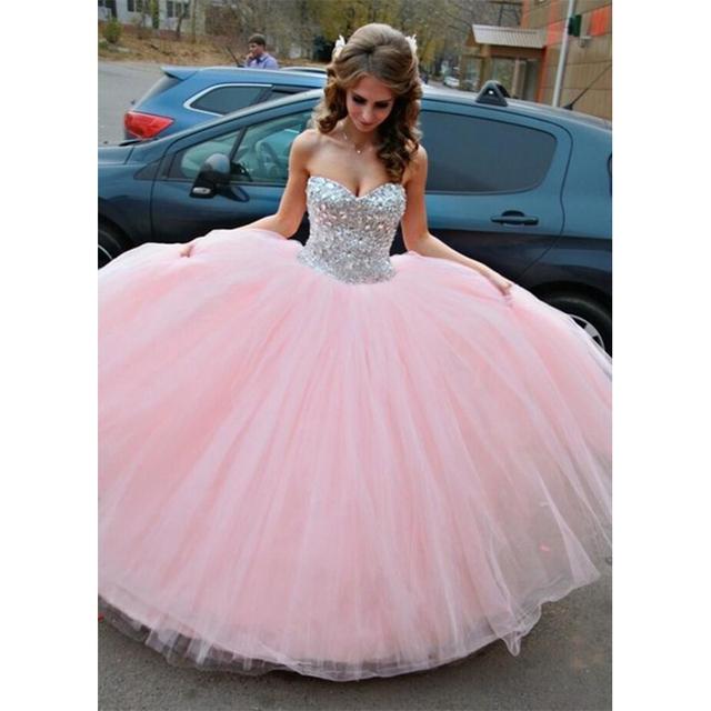 Light Pink Quinceanera Vestido 2016 Até O Chão Tulle Puffy Ball Vestido Vestidos Quinceanera com Cristais Baratos