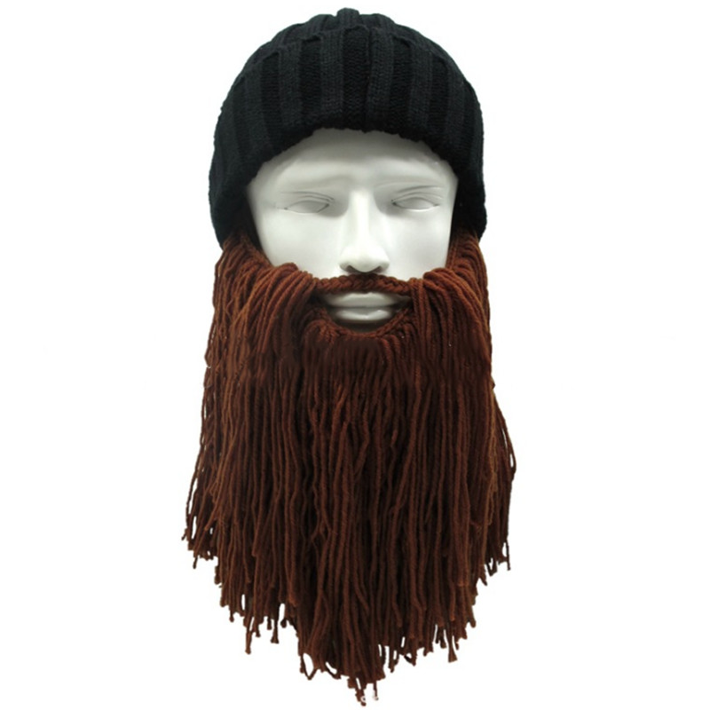 Creative Men Hats Knitted Winter Warm Caps Viking Beanies Beard Hats Outdoor Ski Funny Hat For Party Halloween touca inverno
