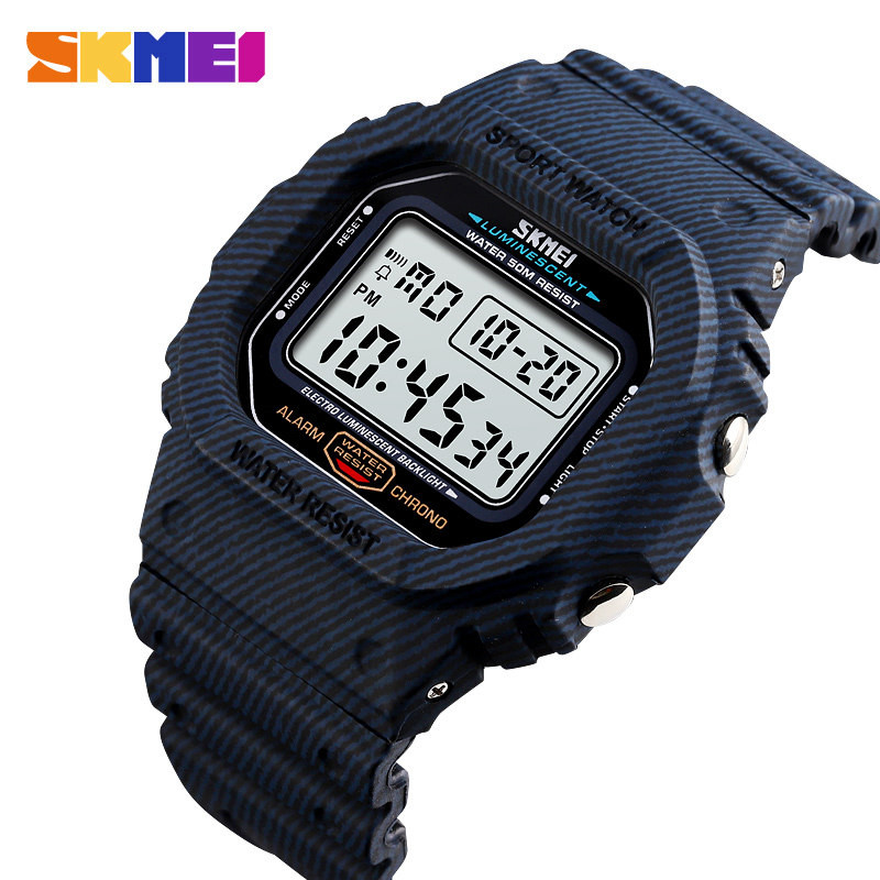 SKMEI Men Casual Sport Digital Watches Camo Waterproof Electronic Wristwatches Denim Style Fashion Lover Watch Relogio Masculino