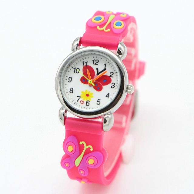 3D Cartoon butterfly Children Watches Fashion sport Boys Rubber Silicon Casual K