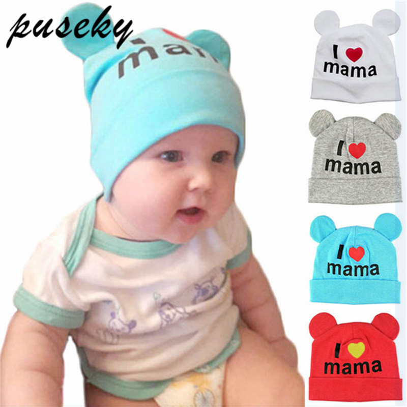 2018 Baby Hat Newborn infant Baby Cotton Skullies I Love mama print Caps Hats For Baby Girls Knitted Beanies Cap gorro infantil
