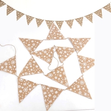 1pcs DIY snowflak Christmas linen banner decoration flag family party non-woven festival