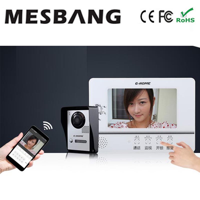wifi door phone intercom with monitor  with APP remotely control and inner monitor  free shipping 2015 free shipping wifi video door phone door bell intercom systems app can be run in android and ios devices