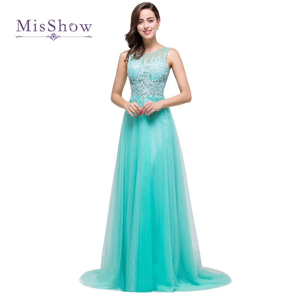 Sexy Real Photos Scoop Backless Appliques Lace Floor Length Long Aqua Blue   Bridesmaid     Dresses   Wedding Party Guest   Dress   CPS383