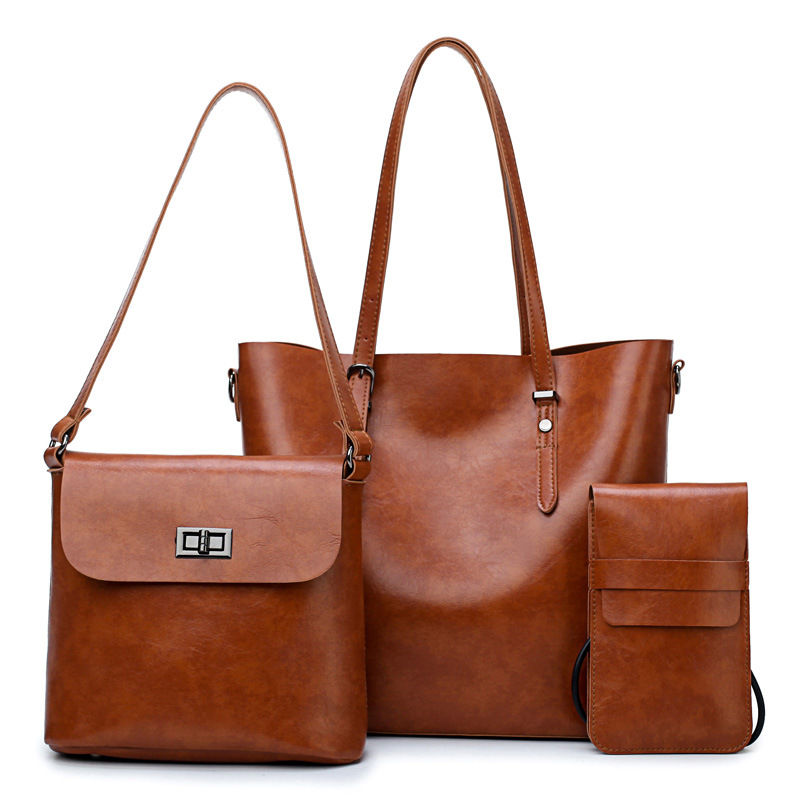 3 pcs/set Leather Handbag Bucket Women Bag Handbags Shoulder Bags for women 2019 Famous Brands Big Casual Totes sac bolso mujer|Shoulder Bags| - AliExpress