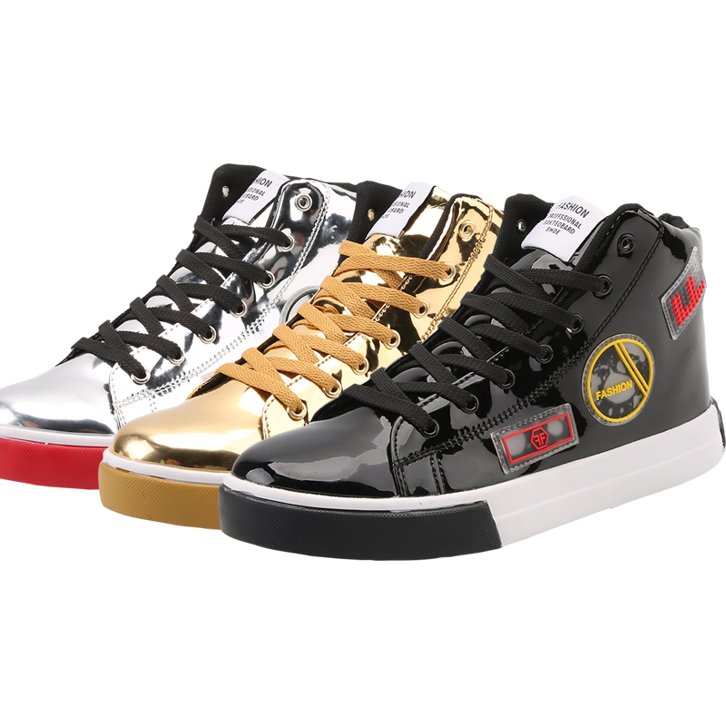 Valstone 2018 high top sneakers Men Gold fashion leather shoes silver  Spring high tops Male Black Vulcanized shoes plus sizes 46-in Men s Casual  Shoes from ... 0d04be32eefe
