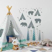 Tribal Teepee Wall Sticker Vinyl Home Decor Nursery Arrow Mountains Bear Star Moon Decals Kids Room Bedroom Murals Cartoon 3560