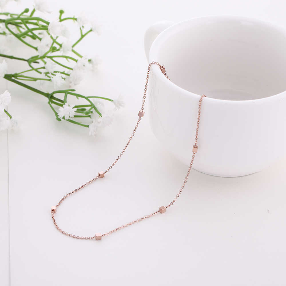 My Shape Multi Small Cube Square Stainless Steel Necklace Rose Gold Nacklaces Women's Jewelry Trendy Accessories Bijoux 47cm