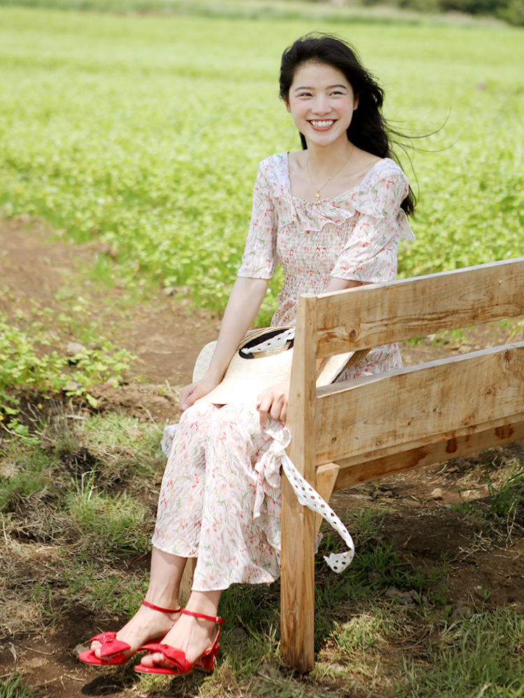 Mousseline Fée Lynette's De Soie Romantique Floral Femmes Chinoiserie Vacances Imprimé Robes D'été Frais anw0ARqa