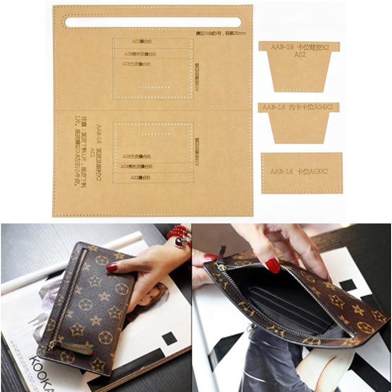 1set DIY Leather Handmade Craft Women Handbag Wallet Purse Sewing Pattern Hard Kraft Paper Stencil Template 125X240X20MM
