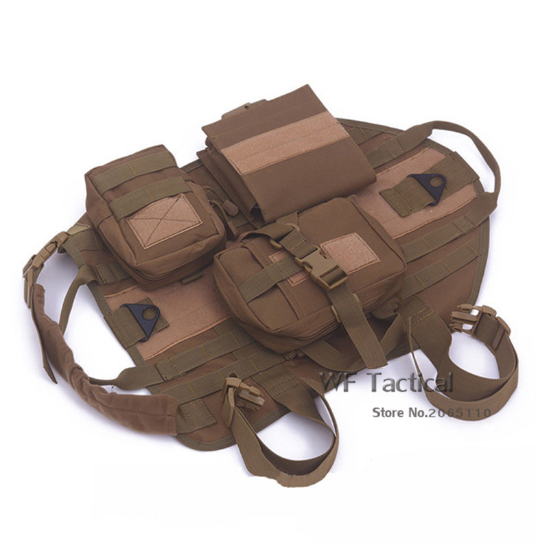 Tactical Dog Jacket With Molle EMT First Aid Pouch Dog Training Molle Vest Harness Military Load Bearing For Hunting SWAT