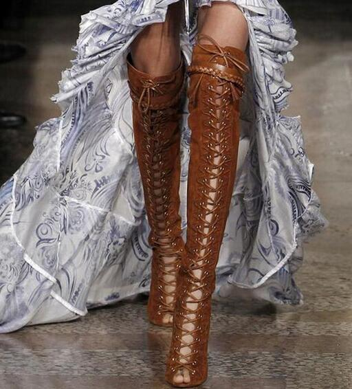 Stylish lace up thigh high boots for woman peep toe suede/snakeskin leather stiletto heel over the knee boots brown color pumps недорго, оригинальная цена