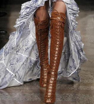 Stylish lace up thigh high boots for woman peep toe suede/snakeskin leather stiletto heel over the knee boots brown color pumps