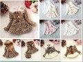 Розничные девушки леопарда искусственного меха лисы пальто одежда с луком осень зима носить одежду ребенка детей верхняя платье жакет