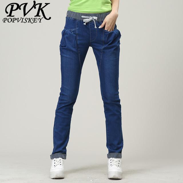 New casual mid cintura de algodão mulheres calças de Brim fêmeas Magros Moda longo denim harém Calças jeans elásticos plus size livre grátis