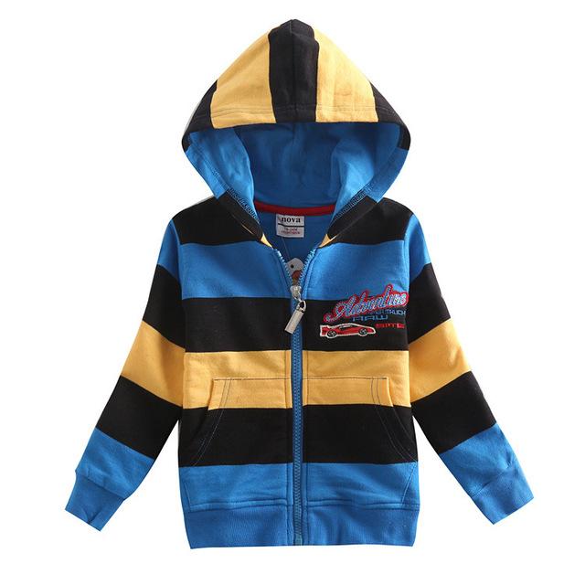 Azul amarillo negro a rayas chicos visten sudaderas con capucha niños sudaderas chaqueta ropa de bebé año nuevo deportes juegos de los cabritos ropa de algodón