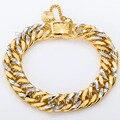 11mm Silver Gold Filled Bracelet Hammered Curb Cuban Double Chain Bracelet Heavy Mens Boys Bracelet  Wholesale  LGB192