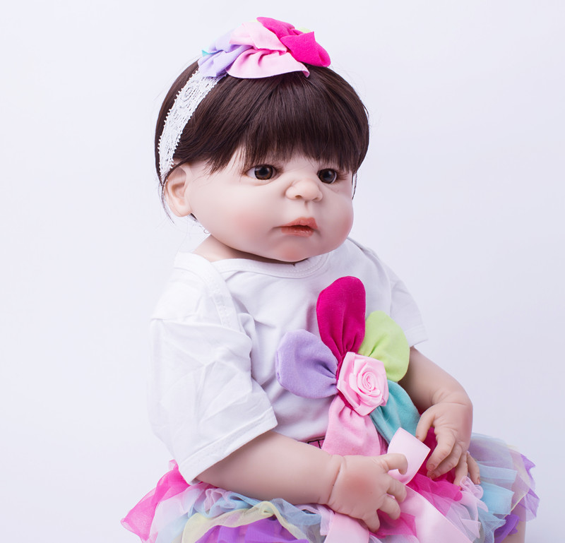 55cm Full Body Silicone Reborn Baby Doll Toys Newborn Girl Baby Doll Lovely Child Birthday Gift Bathe Toy Girls Brinquedos 50cm full silicone body reborn princess babies doll toys newborn baby doll lovely kids birthday gift bathe toy girls brinquedos