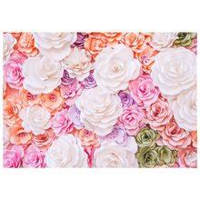 7x5ft Фон фотографии 3D цвет розовый бумажный цветок стены великолепные свадебные Baby Shower красивая невеста душ фон
