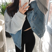 Solid Turn down Collar Loose Casual Short Denim Jacket Woman Basic Outerwear Coat Top Base Blue Fashionable Denim Feminine XM157