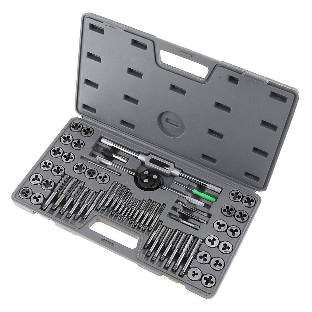 New 60pcs/set Multifunction Alloy Steel Metric and British Screw Tap & Die Thread Cutting Tapping Hand Tool Kit with Plastic Box diy loving heart box stencil carbon steel cutting die