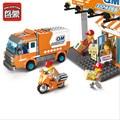 Alta Calidad Iluminar Ciudad Construir Camión Expreso de Mensajería Compatible con juguetes Serie de La Ciudad Los Niños Educativos Juguetes Para Niños