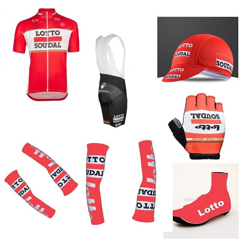 2017Pro squadra lotto soudal 7 PZ set completo ciclismo maglia manica Corta quickdry bike MTB abbigliamento Ropa ciclismo maillot Bicicletta GEL