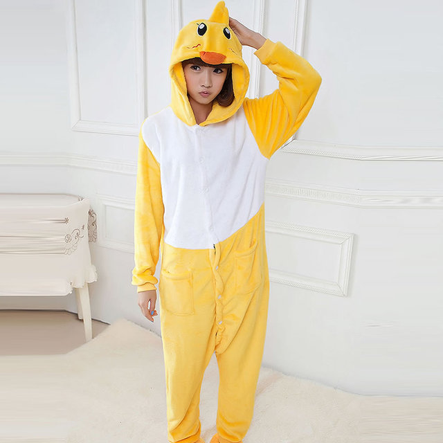 2016 hot Winter Spring yellow duck Fleece Women Men Ladies Adult Footed  Onesie Rabbit Christmas Pajamas Hooded Romper Sleepwear fc7d576f4