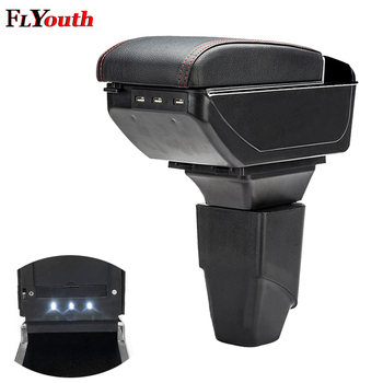 Armrest Box For Peugeot 207 206 2006-2013 USB Charging LED Light Car Arm Rest Rotatable Centre Console Storage Box Car Styling