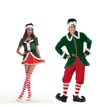 bb94c9ae543 De noël Santa Claus Costumes Fantaisie Cosplay Costumes Pour la Fête De  Noël Couple Costume Vêtements