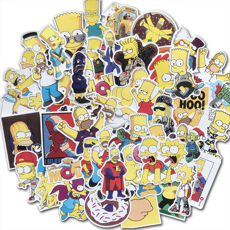 50Pcs Cartoon The Simpsons Stickers Funny Anime Sticker Bomb For Kids Toy DIY Skateboard Luggage Laptop Guitar Car Decals Gift
