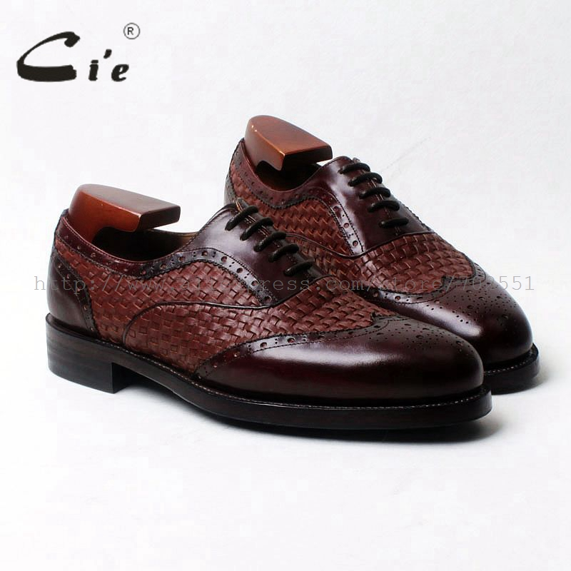 cie round toe wingtips brown weave mixed colors 100%genuine calf leather men's shoe goodyear welt bespoke leather man shoe OX540 cie round toe wine black mixed colors patches shoe100