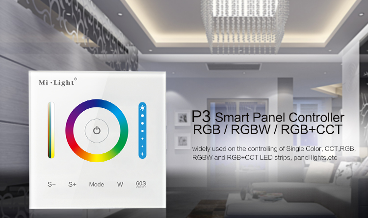 Milight P3-Panel-Controller RGB RGBW + CCT-LED-Touch-Switch-Panel-Controller Led-Dimmer für LED-Streifen, Panel-Licht DC12v-24v