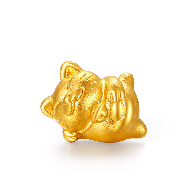 New Arrival Pure 24K Yellow Gold Pendant Women 999 Gold 3D Cat Pendant 0.7g pure 24k yellow gold pendant 3d 999 gold fu star pendant 0 91g
