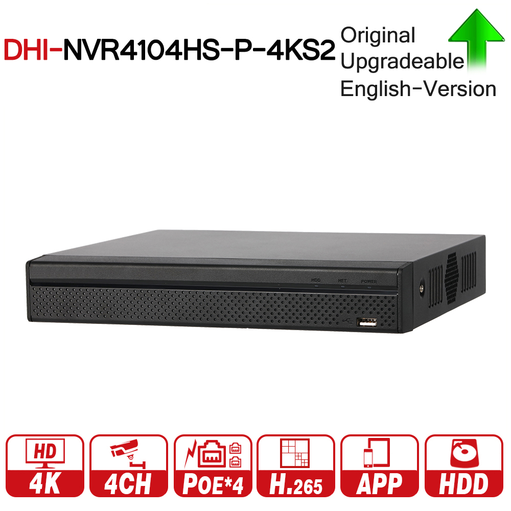 DH NVR4104HS-P-4KS2 With 4ch PoE Port H.265 Video Recorder Support ONVIF CGI Metal POE NVR For DH Security CCTV System