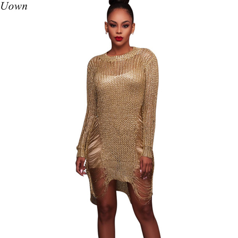 Moda Brillante de punto Crochet Gold Hollow Out Beach Summer Dress Manga larga Sexy O-cuello suelto Vestidos de fiesta cortos sin cinturón