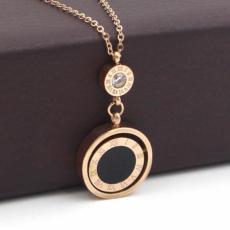 Lady Jewelry Double Circle Roman Numeral Necklace For Women Turnable Black White Shell Pendent Necklace Jewelry Party K0030