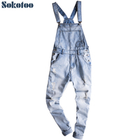 Sokotoo Men S Light Blue Slim Snow Washed Denim Bib Overalls Casual Hole Ripped Suspenders Jumpsuits