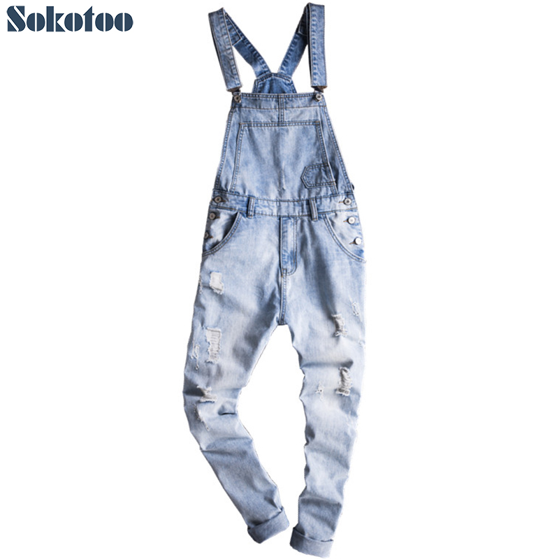 Sokotoo 男性のライトブルースリム雪洗浄デニムよだれかけオーバーオールカジュアル穴がサスペンダージャンプスーツ貨物引き裂かジーンズ  グループ上の メンズ服 からの ジーンズ の中 1