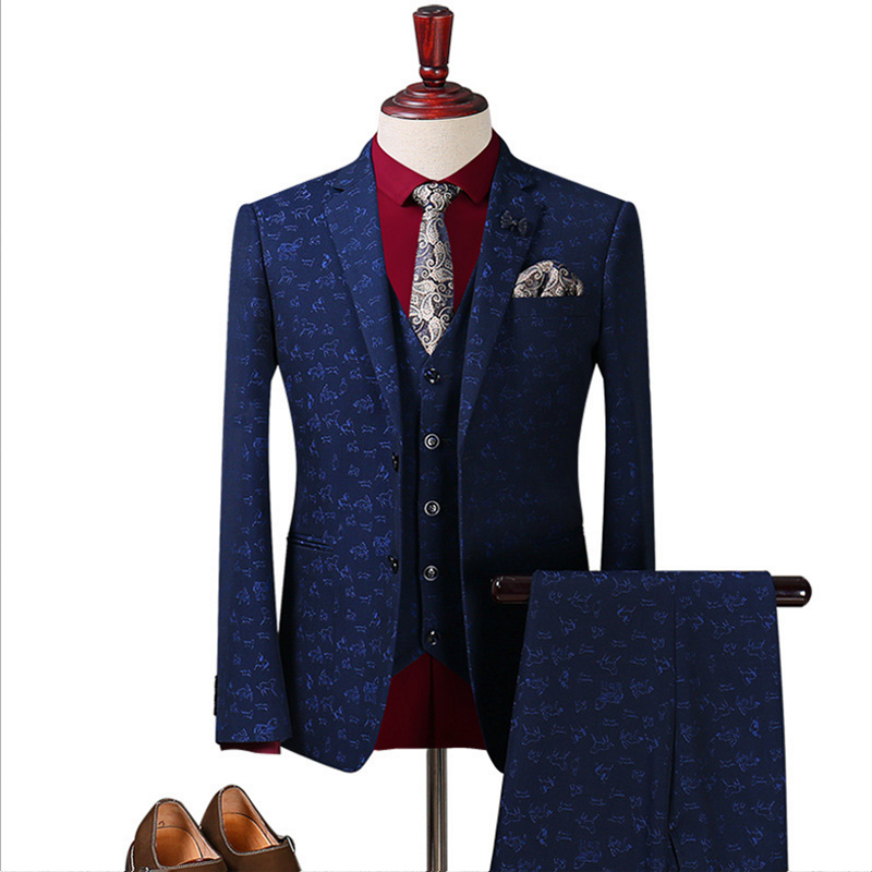 Luxury brand Groom Wedding Suit Mens Printed Paisley Floral Stage Wear For Singer Fashion Slim Fit Mens Suits With Pants 3 pcs