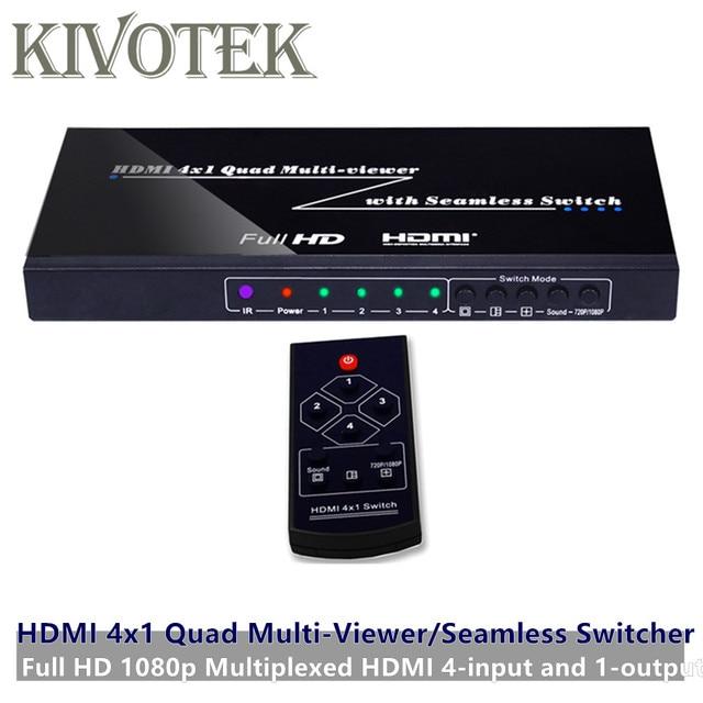 4 포트 hdmi 스위치 seamless switcher 4x1 멀티 뷰어 어댑터, full hd1080p, xbox 360 ps4/3 스마트 안드로이드 hdtv 용 무료 배송