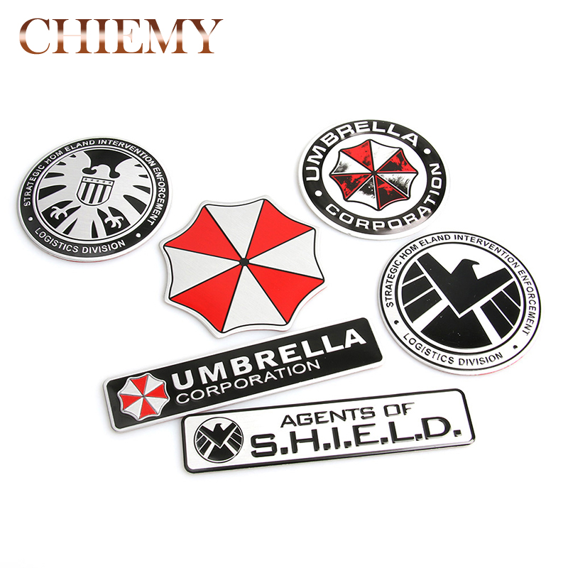 3D Stickers Aluminum Umbrella Corporation Car Sticker And Decals 10 Types Car Styling 3D Car Decor For BMW AUDI VW Ford Stickers