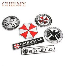 3D Stickers Aluminum Umbrella Corporation Car Sticker and Decals 10 Types Car Styling 3D Car Decor For BMW AUDI VW Ford Stickers цена