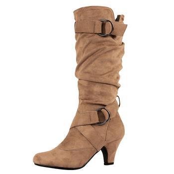 SAGACE moda damska buty retro krzyżowa klamra buty okrągłe głowy buty ocieplane najnowsze damskie sexy buty nowy product 2020 tanie i dobre opinie RUBBER Połowy łydki Pasek klamra Stałe Women s boots Pasuje prawda na wymiar weź swój normalny rozmiar Szpiczasty nosek