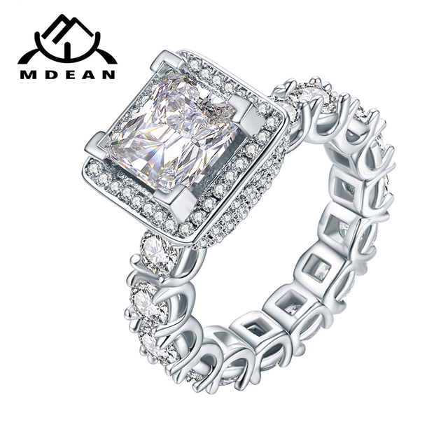 MDEAN White Gold Color Rings for Women AAA Zircon Jewelry Wedding Ring Engagemen